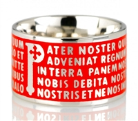 "The Animae collection by Tuum is the Sterling Silver rhodium plated version of their ring creations. This is the ""Pater"" with the Pater Noster (Our Father) Latin text written in relief in over five lines. Crafted in 925 Sterling with red enamel overlay"