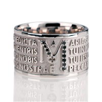 "The Animae collection by Tuum is the Sterling Silver rhodium plated version of their ring creations. This is the ""Mater"" with the Ave Maria (Hail Mary) Latin text written in over four lines. Crafted in 925 rhodium Sterling with Black Spinel gemstones"