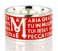"The Animae collection by Tuum is the Sterling Silver rhodium plated version of their ring creations. This is the ""Mater"" with the Ave Maria (Hail Mary) Latin text written in over four lines. Crafted in 925 Sterling with an overlay of Red Enamel"
