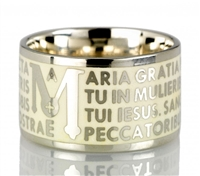 "The Animae collection by Tuum is the Sterling Silver rhodium plated version of their ring creations. This is the ""Mater"" with the Ave Maria (Hail Mary) Latin text written in over four lines. Crafted in 925 Sterling with an overlay of white Enamel"