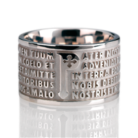 "The Animae collection by Tuum is the Sterling Silver rhodium plated version of their ring creations. This is the ""Pater"" with the Pater Noster (Our Father) Latin text written in relief in over five lines. Crafted in White Rhodium 925 Sterling Silver"