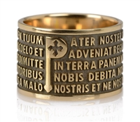 "Ring features the ""Pater Noster"" (Lords Prayer) latin text in relief. The design is unique in that the five lines of the text frame the iconic ""P"". in 925 Bronzed sterling silver. made in Italy by Tuum"