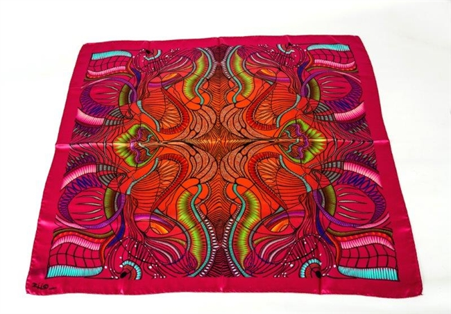 "Ziio's Jungle Print Silk Scarf in Pink. 36"" Square in Silk Satin. A beautiful pattern in Pink and Orange with shades of Blue and Green. Made in Italy with a hand rolled finished edge."