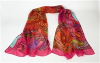 "Ziio's Pink Jungle Print Shawl in a blend of 90% Modal & 10% Cashmere. A beautiful pattern in Pink, Orange and Cream with shades of Green & Blue. Very light in weight. Made in Italy with a hand rolled finished edge. L 82"" X W 27"""