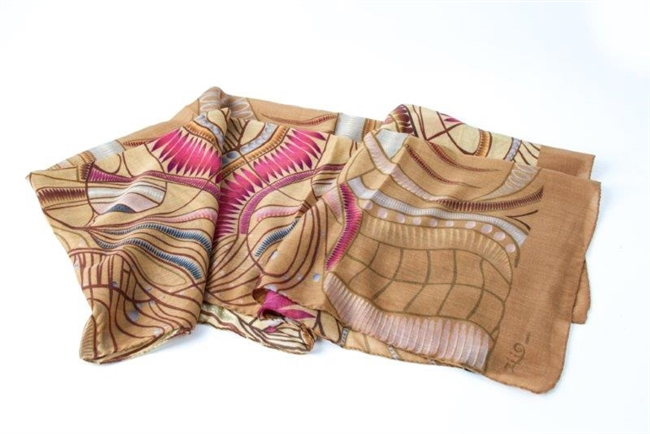 "Ziio's Jungle Print Cashmere Shawl in Beige. A beautiful pattern in Beige, Tan, Pink and Cream with shades of Blue. Made in Italy with a hand rolled finished edge. L 82"" X W 27"""