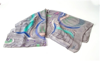 "Ziio's Jungle Print Cashmere Shawl in Grey. A beautiful pattern in Grey, Blue, Pink, Green and Cream. Made in Italy with a hand rolled finished edge. L 82"" X W 27"""