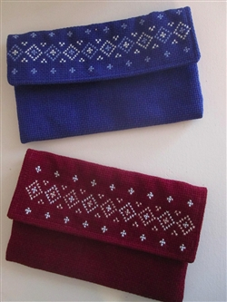 Embroidered Clutch Bag - Blue