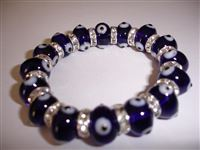 Dark Blue Clear Glass Elastic Bracelet regular size