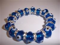 Light Blue Clear Glass Elastic Bracelet - regular size