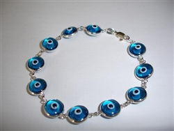 Light Blue Round Silver Bracelet