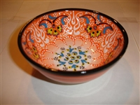 Ceramic Handpainted Bowl Intricate Orange