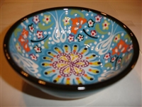 Ceramic Handpainted Bowl Intricate Light Blue