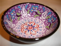 Ceramic Handpainted Bowl Intricate Light Purple