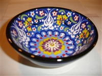 Ceramic Handpainted Bowl Intricate Dark Blue