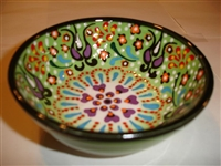Ceramic Handpainted Bowl Intricate Light Green