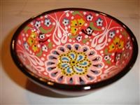 Ceramic Handpainted Bowl Intricate Light Red