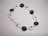 Black & White Painted Silver Bracelet