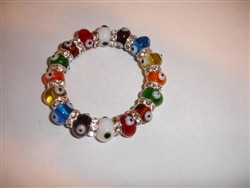 Multi Color Clear Glass Elastic Bracelet - regular size