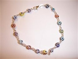 17 Multicolor eye thin Silver Bracelet 7.5""