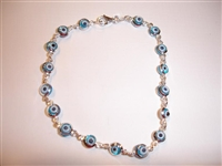 17 Light Blue eye thin Silver Bracelet 7.5""