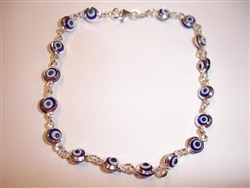 17 Dark Blue eye thin Silver Bracelet 7.5""