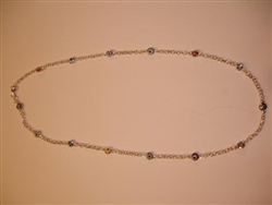 Multicolor Sterling Silver Necklace 17""