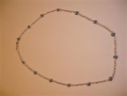 Light Blue Sterling Silver Necklace 17""