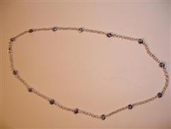 Dark Blue Sterling Silver Necklace 17""