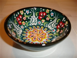 Ceramic Handpainted Bowl (10cm diameter) Intricate Dark Green