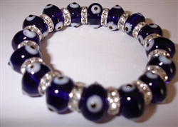 Dark Blue Clear Glass Elastic Bracelet large size
