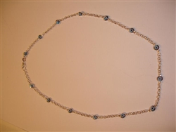 Sterling Silver Anklets Light Blue