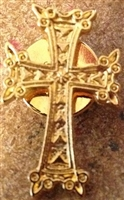 Armenian Gold Plated Cross Lapel Pin