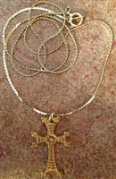 Armenian Gold Plated (Smaller) Cross with Chain