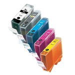 Canon BCI-3eBK/PBK/C/M/Y New Compatible 5 Color Ink Cartridges Combo