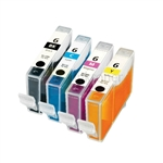 Canon BCI-6BK/C/M/Y New Compatible 4 Color Ink Cartridges Combo