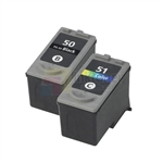 Canon PG-50/CL-51 Remanufactured Black & Color Ink Cartridges Combo