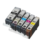 Canon PGI-220BK and CLI-221BK/C/M/Y New Compatible 5 Color Ink Cartridges Combo