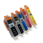 Canon PGI-250XL and CLI-251XLBK/C/M/Y New Compatible 5 Color Ink Cartridges Combo High Yield