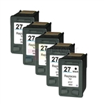 HP 27 (C8727AN) New Compatible Black Ink Cartridges 5 Pack Combo