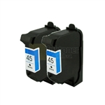 HP 45 (51645A) New Compatible Black Ink Cartridges 2 Pack Combo