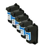 HP 45 (51645A) New Compatible Black Ink Cartridges 5 Pack Combo
