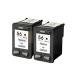 HP 56 (C6656AN) New Compatible Black Ink Cartridges 2 Pack Combo