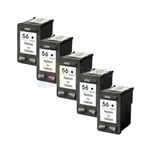 HP 56 (C6656AN) New Compatible Black Ink Cartridges 5 Pack Combo