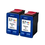HP 57 (C6657AN) New Compatible Tri-Color Ink Cartridges 2 Pack Combo