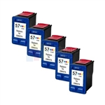 HP 57 (C6657AN) New Compatible Tri-Color Ink Cartridges 5 Pack Combo