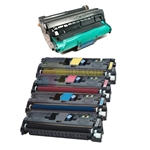 HP Q3960A-Q3963A (HP 122A) New Compatible 4 Color Toner Cartridges/HP Q3964A Compatible Drum Unit 5 Pack Combo