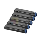 Okidata 43979101 New Compatible Black Toner Cartridges 5 Pack Combo