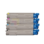 Okidata 43459301-43459304 New Compatible 4 Color Toner Cartridges Combo High Yield