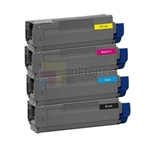 Okidata 44844509-44844512 New Compatible 4 Color Toner Cartridges Combo