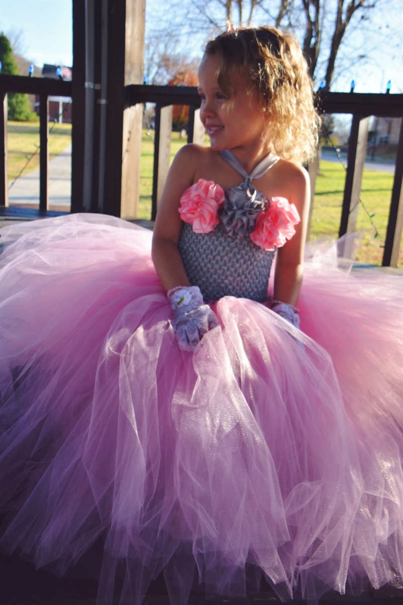 Custom Traditional Flower Girl Dress With Satin Accent Flowers